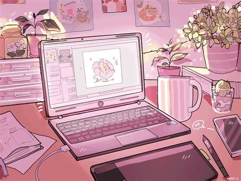 Nahdhonur Anime Aesthetic Wallpaper Gif Pastel Pink Aesthetic Aesthetic Desktop Wallpaper Anime Computer Wallpaper