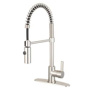 Kingston Brass Continental Single Handle Pull Down Sprayer Kitchen Faucet In Brushed Nickel Yls8778ctl The Home Depot Brushed Nickel Kitchen Faucet Kitchen Faucet Kingston Brass