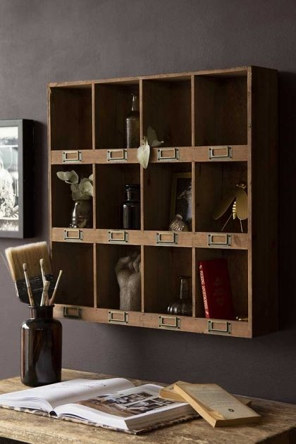 Pigeon Hole Wooden Storage Wall Unit