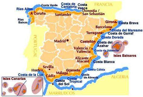 Costas De España Mapa.Mapa De Costas Y Playas De Espana En 2019 Mapa De Espana