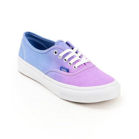 Keep your look timeless with a pop of color in the Vans Authentic Purple Ombre shoes for girls. The canvas upper is in a Purple and Blue ombre fade colorway and sits a top of a vulcanized outsole with the Vans classic waffle tread for superior grip, makin