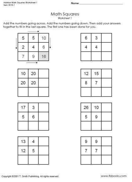Squares And Square Roots Worksheet Addition Math Squares Worksheets 1 And 2 In 2020 Magic Squares Magic Squares Math Worksheets For Kids