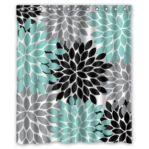 turquoise and coral shower curtain. The teal shower curtain would be good for the bathroom because it helps  incorporate with house It is also simple and not to bold