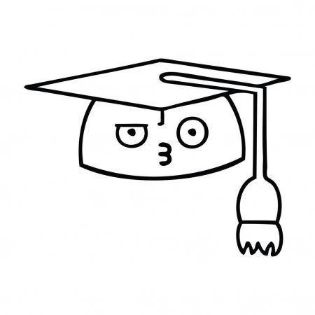 Line Drawing Cartoon Graduation Hat Stock Vector Affiliate Cartoon Drawing Line Graduation Ad Cartoon Drawings Line Drawing Drawings