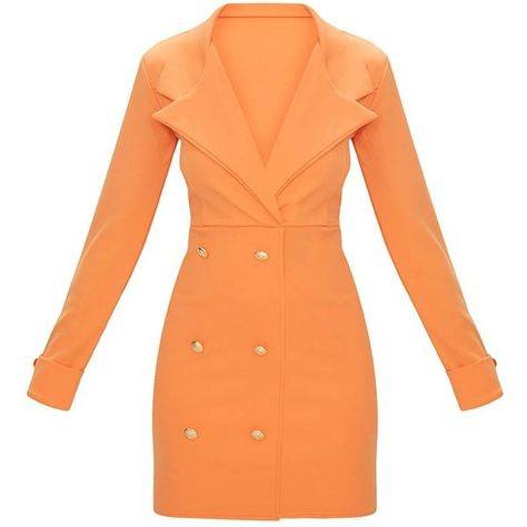 a40d6b36cd23f Tangerine Gold Button Detail Blazer Dress ( 45) ❤ liked on Polyvore  featuring dresses