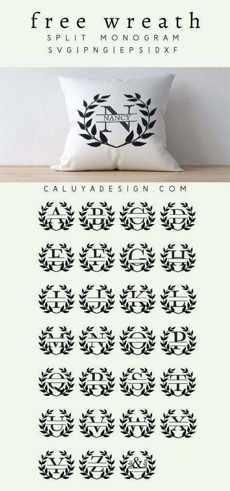 wreath monogram free svg png eps dxf by - T Shirt İdeas Cricut Monogram, Free Monogram, Monogram Wreath, Cricut Vinyl, Vinyl Decals, Free Svg Files Monogram, Cricut Fonts, Monogram Stencil, Scrapbook Printables