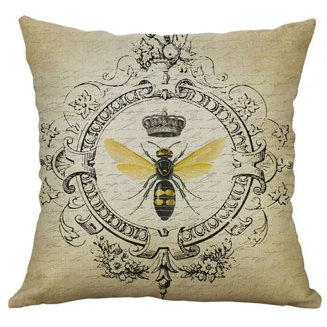 Bee Linen Pillow Home Car Cushion