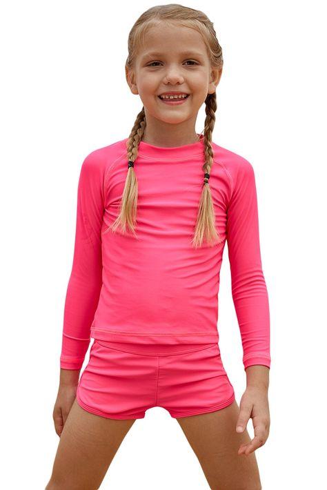Rosy Long Sleeve Rash Guard for Little Girls - multicolour / S