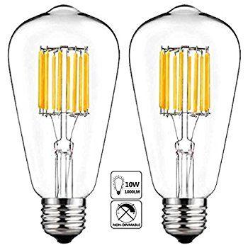 Led Edison Bulb 10w 5000k Cool White 1000lm E26 Medium Base Lamp St21 St64 Antique Style Shape 100w Inca Edison Light Bulbs Led Bulb