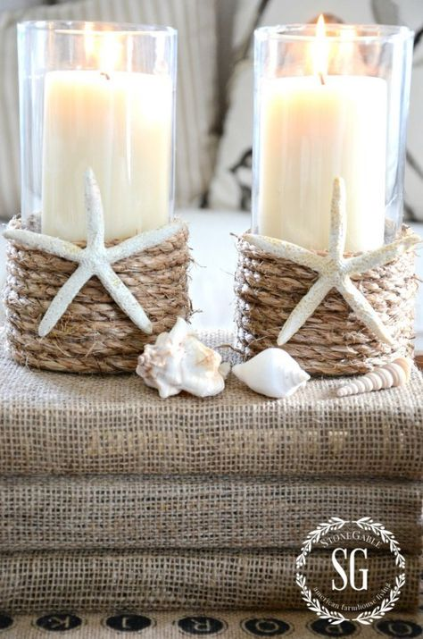 DECORATING IDEAS - StoneGable Dollar Tree Vases with a pillar candle, Sisal Rope, and starfish or sand dollars.Dollar Tree Vases with a pillar candle, Sisal Rope, and starfish or sand dollars. Diy Candle Holders, Diy Candles, Pillar Candles, Beeswax Candles, Dollar Tree Vases, Dollar Tree Crafts, Dollar Tree Centerpieces, Dollar Tree Decor, Seashell Crafts