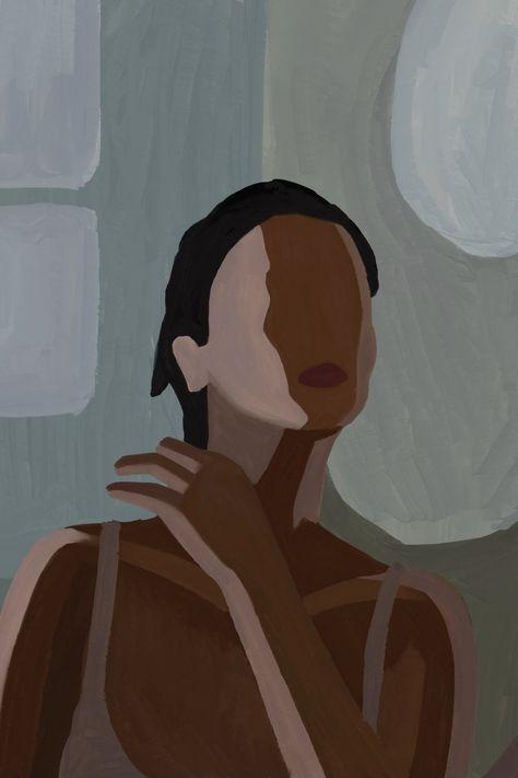 Painting Digital Girl Make-up Grey Dark Brown Style Portrait Mirror Home-decor Decor Lady Feminism Female Stylish Vintage Cubism Modern-art Modern Figurative