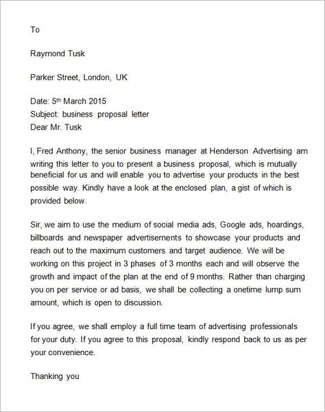 Business Proposal Acceptance Letter Sponsorships Business