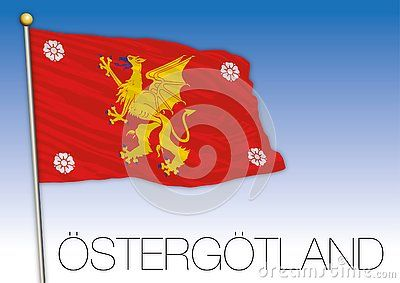 Ostergotland Regional Flag On The Blue Sky Sweden Vector Illustration In 2020 Flag Vector Illustration Illustration