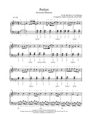 Perfect By Ed Sheeran Piano Sheet Music Advanced Level Con