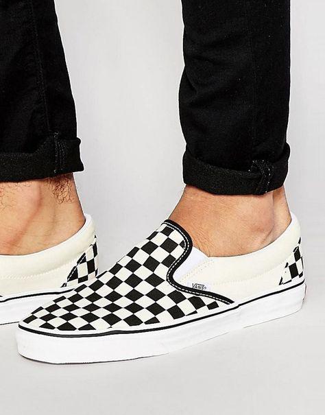 Vans Slip-On Checkerboard Sneakers In Black VEYEBWW | Vans ...