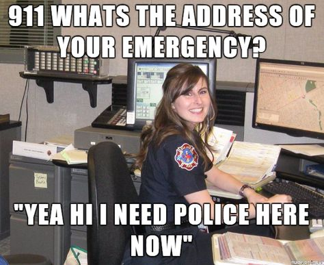 """""""Ok, what is the address of your emergency?""""  Caller: """"Just send the police!""""  Dispatcher: """"where do we send help?""""  Caller: please hurry.   EVERYTIME"""