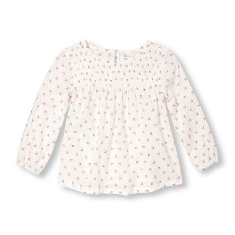 a43c3926725 Baby Girls Toddler Long Sleeve Printed Smocked Top - White - The Children s  Place