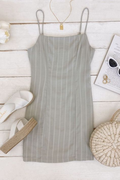 Lulus Exclusive! Achieving the perfect summer look is easy in the Lulus Loving Simply Sage Green Striped Bodycon Mini Dress! Style with white espadrilles and a hand bag for a complete look. #lovelulus