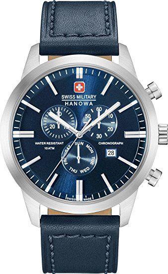 سويس ميلتري ساعة عملية كاجوال رجال انالوج بعقارب جلد 06 4308 04 003 Swiss Military Watches Swiss Military Blue Watches