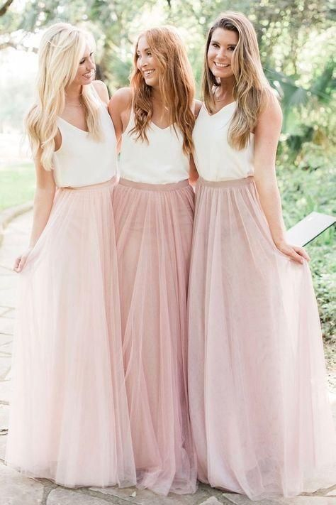 Country Style Wedding Guest Dresses 2020 Pink A Line Cheap Bridesmaid Dresses Long Dress For Wedding Party In 2020 Bridesmaid Separates Two Piece Bridesmaid Dresses Bridesmaid Dresses