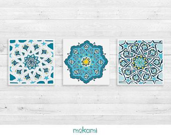 Moroccan Tiles Canvas Set Moroccan Set Moroccan Wall Decor Ornaments Home Decor Bathroom Decor Housewarming Gift 8x8 Mosaic Wall Art Canvas Set House Warming Gifts