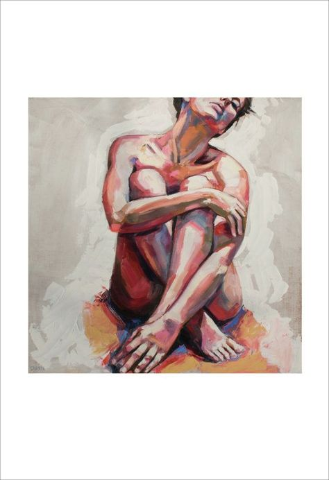 Nude in White, fine art print of original oil painting by Sheila Dunn #OilPaintingPeople #OilPaintingLove