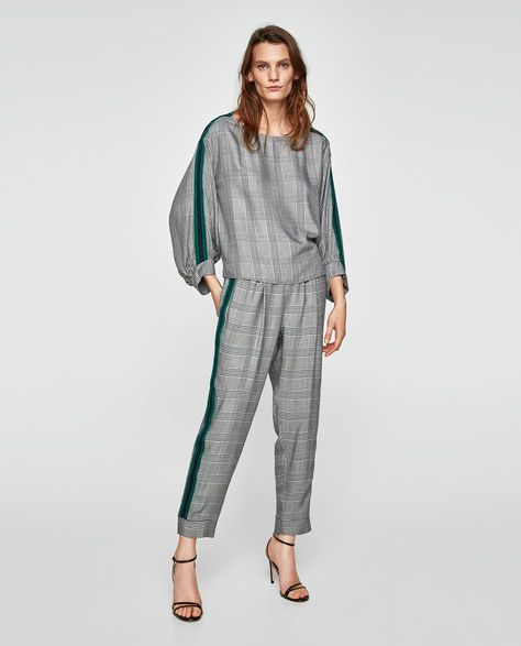 CHECKED TOP WITH CONTRASTING TRIMS-TOPS-WOMAN-NEW COLLECTION | ZARA United States
