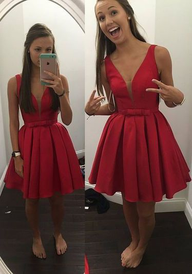 c727fdf669 Find a Simple Sexy Short Red Homecoming Dresses Deep V Neck Short Satin  Homecoming Dress 2016 Cocktail Dresses prom Party Dresses Online Shop For U  !