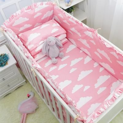 COT BED BEDDING SET 2 3 4 pcs pc grey stars COTTON padded bumper pillowcase