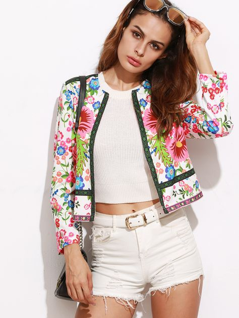 SheIn offers Multicolor Floral Print Collarless Open Front Blazer & more to fit your fashionable needs.
