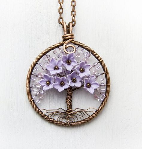 Tree-Of-Life Necklace Сoworker-gift Copper Wire Wrapped Pendant Brown Wired Copper Jewelry Wire Wrap