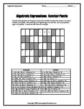 Evaluating Algebraic Expressions Number Puzzle Worksheet