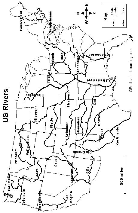 outline map US rivers | ChAGeographycentralamerica | Map ...