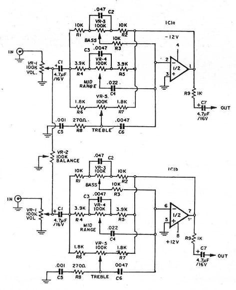3 (bass mid treble) Tone control circuits projects using NE5532