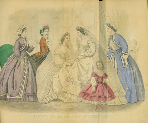 "June 10, 1863: James learned that Molly's family found out about James and Molly's secret engagement. He hoped that meant that they could finally get married. James hopes for a fall or winter wedding. ""Godey's Fashions for January 1865,"" Godey's Lady's Book. Philadelphia: L.A. Godey, January 1865. Missouri History Museum. http://www.historyhappenshere.org/archives/7406"