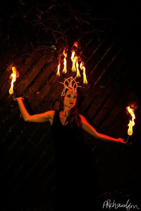 FIRE HEADDRESS Fire Crown For Belly dance tribal fusion and flow performances Fire show performance costume.