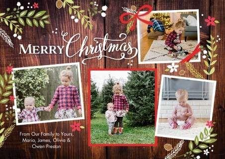 Christmas Rustic Floral Frame Snapshots Christmas Photo Cards