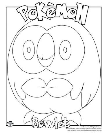 Rowlet Coloring Page Pokemon Coloring Pages Pokemon Coloring