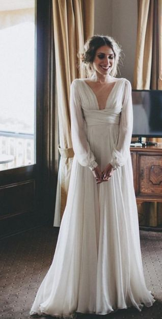 Vintage Empire Waist Cuffed Long Sleeve Wedding Dress Backless