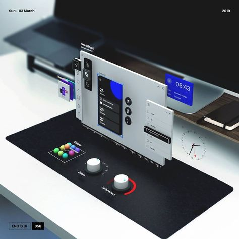 """designer . illustrator 在 Instagram 上发布:""""051 - Mixed reality . . . inspired by the fluent design of Microsoft ... I've tried to build a Mixed reality scene #ui #ux #color…"""""""