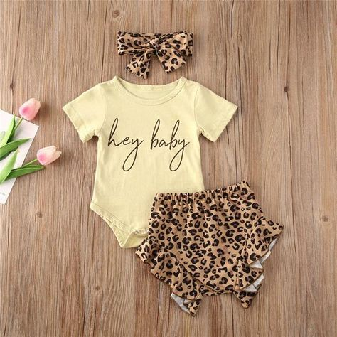 *US CUSTOMERS GET FREE SHIPPING OVER $35 *'Hey Baby' printed baby girl romper / bodysuit / baby grow / baby vest with matching leopard print headband and frilly shorts - perfect as a baby shower gift, birthday present or little treat. Read more for how we can send gifts for you.SIZES70   Age 0-3M   Length:36cm   Bust:46cm   Pant Length:22cm 80   Age 3-6M   Length:38cm   Bust:48cm   Pant Length:23cm   90   Age 6-12M  Length:40cm   Bust:50cm   Pant Length:24cm   100   Age 12-18M   Length:42cm   Bu My Baby Girl, Baby Girl Romper, Baby Girl Newborn, Baby Bodysuit, Baby Girl Items, Baby Girl Pants, Dress Girl, Baby Girls, Cute Baby Girl Outfits