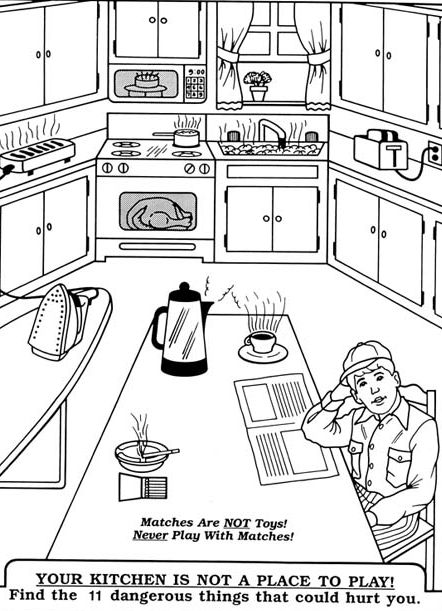 Go Back > Gallery For > Kitchen Safety Coloring Pages | DIY Kids ...