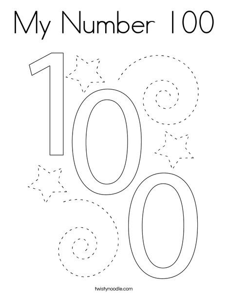 My Number 100 Coloring Page Twisty Noodle Coloring Pages Mini Books Numbers