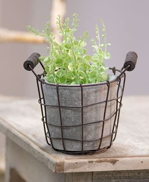 Show Details For Classic Cement Planter W Rustic Wire Basket Wire Baskets Mason Jar Candle Holders