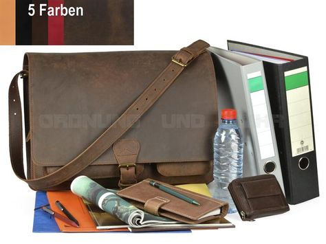 LECONI Collegetasche Used Look große Aktentasche Leder Unisex schwarz LE3014-wax