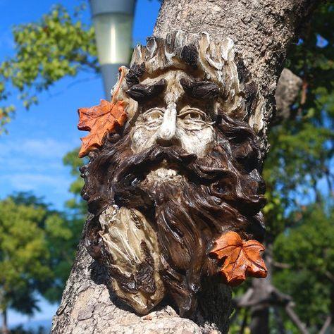 Outdoor Tree Hugger Sculpture Whimsical Tree Face Garden ...