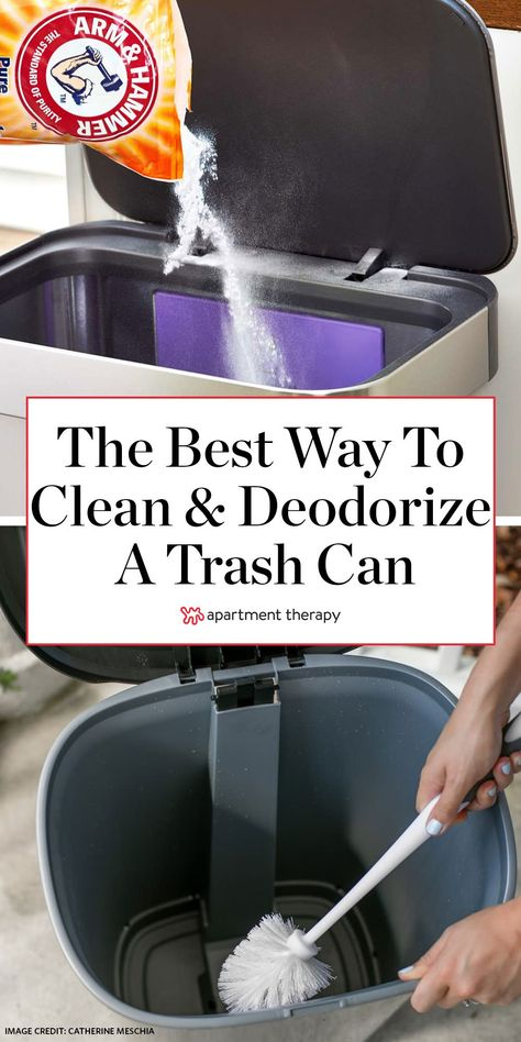 Cleaning, disinfecting, and deodorizing a garbage can doesn't have to be a chore you dread. Just follow these expert-sourced steps, and you'll be smooth sailing your way to a fresh-smelling, gunk-free trash can. #cleaning #cleaningtips #cleaninghacks #cleangarbagecan #deodorize