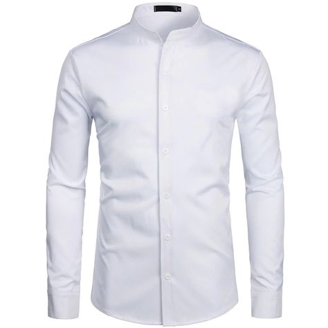 White Banded Collar Slim Fit Long Sleeve Button Shirt SF – loveitbabe
