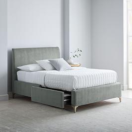Upholstered Sleigh Bed Set King Linen Weave Platinum In 2020