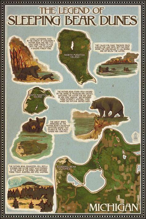 Sleeping Bear Dunes, Michigan - Sleeping Bear Dunes Legend Map - Lantern Press Artwork (Art Print Available)